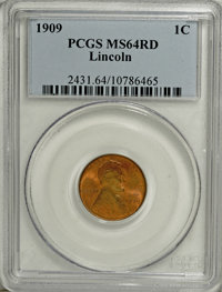 1909 1C MS64 Red PCGS. PCGS Population (352/1194). NGC Census: (76/482). Mintage: 72,702,616. Numismedia Wsl. Price for...