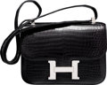Luxury Accessories:Bags, Hermes 23cm Shiny Black Porosus Crocodile Single Gusset ConstanceBag with Palladium Hardware. G Square, 2003. Ver...
