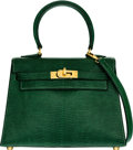 Luxury Accessories:Bags, Hermes 20cm Vert Emerald Salvator Lizard Sellier Mini Kelly Bagwith Gold Hardware. V Circle, 1992. Very Good Condition...
