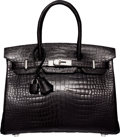 "Luxury Accessories:Bags, Hermes 30cm Shiny Black Porosus Crocodile Birkin Bag with Palladium Hardware. T, 2015. Pristine Condition. 12"" Wid..."