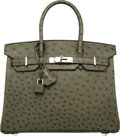 "Luxury Accessories:Bags, Hermes 30cm Vert Olive Ostrich Birkin Bag with Palladium Hardware. N Square, 2010. Excellent to Pristine Condition. 12"" Wi..."