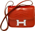 "Luxury Accessories:Bags, Hermes 18cm Shiny Sanguine Alligator Constance Bag with PalladiumHardware. T, 2015. Excellent Condition. 7""Width..."