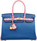 Luxury Accessories:Bags, Hermes Special Order Horseshoe 30cm Rose Confetti & Blue SaphirChevre Mysore Leather Birkin Bag with Brushed Gold Hardware...