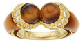 Estate Jewelry:Rings, Diamond, Tiger's-Eye Quartz, Gold Ring, French. ...