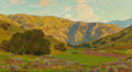 Fine Art - Painting, American:Modern  (1900 1949)  , William Wendt (American, 1865-1946). Meadow with DistantHills, 1907. Oil on canvas. 20 x 36 inches (50.8 x 91.4 cm).Si...