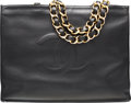 "Luxury Accessories:Bags, Chanel Black Lambskin Leather Tote Bag with Gold Hardware.Excellent Condition. 16"" Width x 12"" Height x 4.5""Depth..."