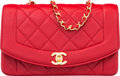 "Luxury Accessories:Bags, Chanel Red Quilted Lambskin Leather Small Diana Flap Bag with GoldHardware. Very Good to Excellent. 8.5"" Width x5.5""..."