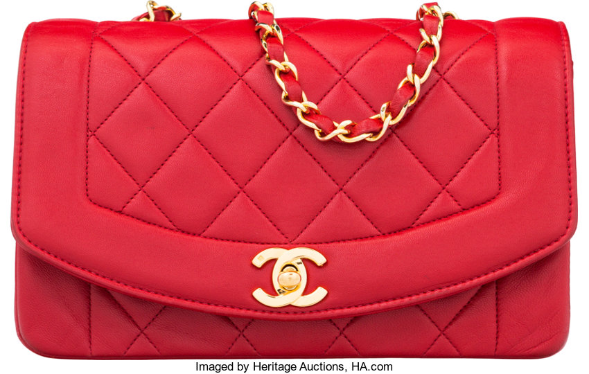 54b1298462d6 Chanel Red Quilted Lambskin Leather Small Diana Flap Bag With Lot