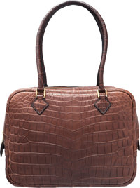 Hermes 20cm Matte Havane Nilo Crocodile Plume Bag with Gold Hardware G Square, 2003 Very Good to
