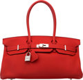 Luxury Accessories:Bags, Hermes 42cm Rouge Vif Clemence Leather JPG Shoulder Birkin Bag withPalladium Hardware. P Square, 2012. Excellent Cond...