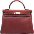 Luxury Accessories:Bags, Hermes 32cm Rouge H Calf Box Leather Retourne Kelly Bag with GoldHardware. C Square, 1999. Very Good to ExcellentCon...