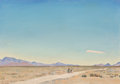 Fine Art - Painting, American:Modern  (1900 1949)  , Maynard Dixon (American, 1875-1946). Road to Nowhere, IndianSprings, Nevada, 1934. Oil on board. 9-3/4 x 13-3/4 inches ...