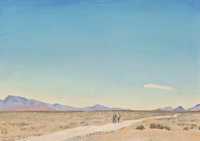 Maynard Dixon (American, 1875-1946) Road to Nowhere, Indian Springs, Nevada, 1934 Oil on board 9-