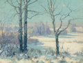 Fine Art - Painting, American:Modern  (1900 1949)  , Maurice Braun (American, 1877-1941). Winter Afternoon,Connecticut, 1928. Oil on canvas. 16 x 20 inches (40.6 x 50.8cm)...