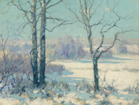 Maurice Braun (American, 1877-1941) Winter Afternoon, Connecticut, 1928 Oil on canvas 16 x 20 inc