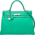 "Luxury Accessories:Bags, Hermes 35cm Menthe Clemence Leather Retourne Kelly Bag withPalladium Hardware. P Square, 2012. Excellent Condition. 14""W..."