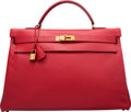 Luxury Accessories:Bags, Hermes 40cm Rouge Vif Courchevel Leather Retourne Kelly Bag withGold Hardware. T Circle, 1990. Very Good Condition...