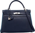 Luxury Accessories:Bags, Hermes Special Order 32cm Blue Marine & Blue Jean Epsom LeatherRetourne Kelly Bag with Palladium Hardware. I Square,2005...