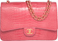 "Luxury Accessories:Bags, Chanel Shiny Pink Alligator Maxi Double Flap Bag with Gold Hardware. Excellent Condition. 13"" Width x 9"" Height x 4"" D..."