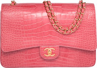 "Chanel Shiny Pink Alligator Maxi Double Flap Bag with Gold Hardware Excellent Condition 13"" Width"