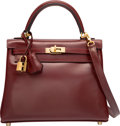 "Luxury Accessories:Bags, Hermes 25cm Rouge H Calf Box Leather Retourne Kelly Bag with GoldHardware. L Square, 2008. Excellent Condition. 10"" Width..."