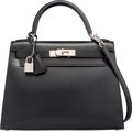 Luxury Accessories:Bags, Hermes 28cm Black Calf Box Leather Sellier Kelly Bag with Palladium Hardware. M Square, 2009. Very Good Condition. ...