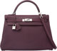 Hermes 32cm Raisin Chevre Mysore Leather Retourne Kelly Bag with Palladium Hardware L Square, 2008 Excellent Condition...