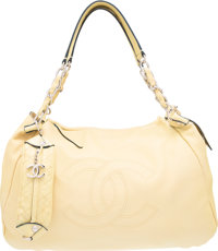 """Chanel Yellow Leather Shoulder Bag with Silver Hardware Excellent Condition 18"""" Width x 7"""" Height"""