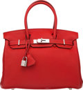 Luxury Accessories:Bags, Hermes 30cm Rouge Casaque Togo Leather Birkin Bag with PalladiumHardware. P Square, 2012. Very Good to Excellent Conditio...