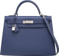 Luxury Accessories:Bags, Hermes 32cm Blue Saphir Epsom Leather Sellier Kelly Bag withPalladium Hardware. R Square, 2014. ExcellentCondition...
