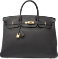 "Luxury Accessories:Bags, Hermes 40cm Black Fjord Leather Birkin Bag with Gold Hardware. PSquare, 2012. Very Good Condition. 15.5"" Width x..."