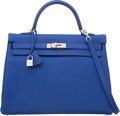 Luxury Accessories:Bags, Hermes 35cm Blue Electric Togo Leather Retourne Kelly Bag with Palladium Hardware. Q Square, 2013. Excellent Condition...