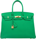 """Luxury Accessories:Bags, Hermes 35cm Bamboo Epsom Leather Birkin Bag with Gold Hardware.R Square, 2014. Very Good to Excellent Condition. 14""""Widt..."""
