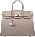Luxury Accessories:Bags, Hermes 35cm Etain Epsom Leather Birkin Bag with Palladium Hardware.Q Square, 2013. Very Good to Excellent Condition...