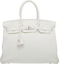 Luxury Accessories:Bags, Hermes 35cm White Clemence Leather Birkin Bag with Palladium Hardware. R Square, 2014. Very Good to Excellent Conditio...