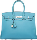 Luxury Accessories:Bags, Hermes 35cm Blue Jean Clemence Leather Birkin Bag with PalladiumHardware. H Square, 2004. Excellent to PristineCondi...