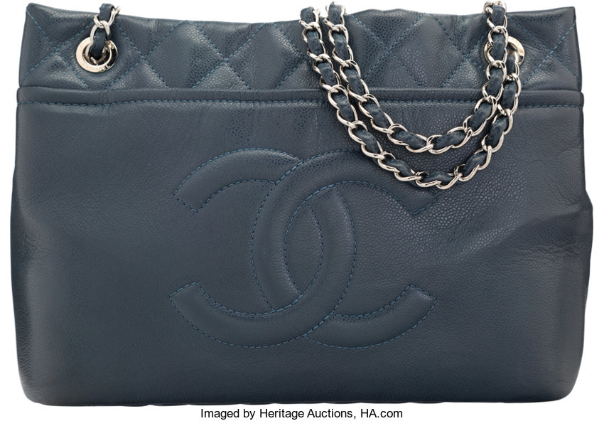 Chanel Blue Quilted Caviar Leather Tote Bag with Silver  6c471fdf10e2e