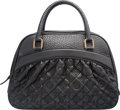 """Luxury Accessories:Accessories, Louis Vuitton Black Quilted Embossed Leather Bag. Very Good to Excellent Condition. 14"""" Width x 9.5"""" Height x 5"""" Depth..."""