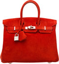 Luxury Accessories:Bags, Hermes 25cm Rouge Vif Veau Doblis Suede Birkin Bag with PalladiumHardware. I Square, 2005. Very Good to Excellent Conditi...