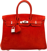 Hermes 25cm Rouge Vif Veau Doblis Suede Birkin Bag with Palladium Hardware I Square, 2005 Very Good to Excel