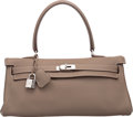 Luxury Accessories:Bags, Hermes 42cm Etoupe Clemence Leather JPG Shoulder Kelly Bag with Palladium Hardware. L Square, 2008. Very Good to Excel...