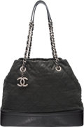 Luxury Accessories:Bags, Chanel Black Quilted Sueded Leather & Distressed Patent LeatherTote Bag with Gunmetal Hardware. Excellent Condition...
