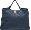 "Luxury Accessories:Bags, Chanel Blue Quilted Sueded Leather Tote Bag with Silver Hardware.Excellent Condition. 17"" Width x 11"" Height x 7""Dep..."