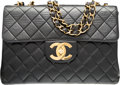 "Luxury Accessories:Bags, Chanel Black Quilted Lambskin Leather Jumbo Single Flap Bag withGold Hardware. Very Good Condition. 12"" Width x 8""He..."