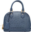 "Luxury Accessories:Bags, Louis Vuitton Indigo Blue Ostrich Alma BB Bag. ExcellentCondition. 9.5"" Width x 7.5"" Height x 4"" Depth. ..."