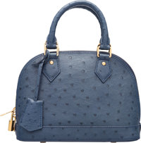 "Louis Vuitton Indigo Blue Ostrich Alma BB Bag Excellent Condition 9.5"" Width x 7.5"" Height x 4"" D"