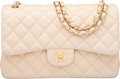 "Luxury Accessories:Bags, Chanel Beige Quilted Lambskin Leather Jumbo Double Flap Bag withGold Hardware. Excellent to Pristine Condition. 12""W..."