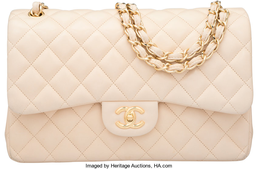 085eccb9eda4de ... Luxury Accessories:Bags, Chanel Beige Quilted Lambskin Leather Jumbo  Double Flap Bag withGold Hardware ...