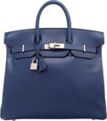 "Luxury Accessories:Bags, Hermes 32cm Blue Saphir Calf Box Leather HAC Birkin BrushedPalladium Hardware. D Square, 2000. Very Good Condition. 13""W..."