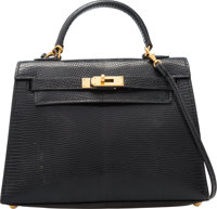 Hermes 15cm Black Salvator Lizard Micro Mini Sellier Kelly with Gold Hardware U Circle, 1991 Very
